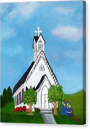 Canvas Print featuring the painting Carpenter Gothic Church In Louisiana by Margaret Harmon