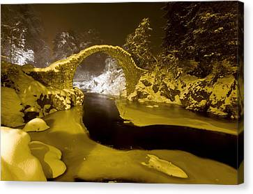 Snowy Night Night Canvas Print - Carr Bridge At Night In Winter by Duncan Shaw