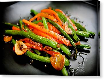Carrot And Green Beans Stir Fry Canvas Print by Iris Filson