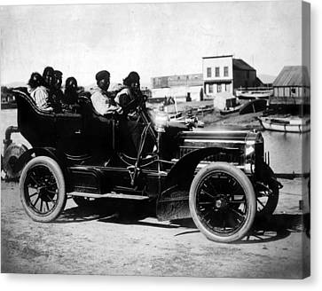 Cars. Eskimos, Five Adults And One Canvas Print by Everett