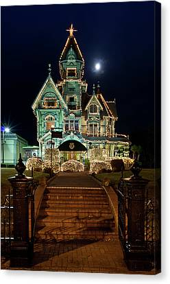 Carson Mansion At Christmas With Moon Canvas Print by Greg Nyquist