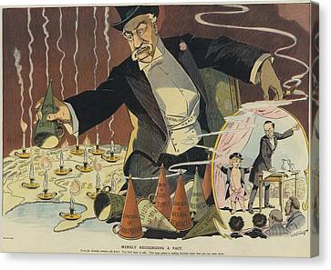 Cartoon Depicting A Giant Businessman Canvas Print
