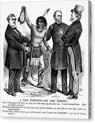 Cartoon: Native Americans, 1876 Canvas Print by Granger