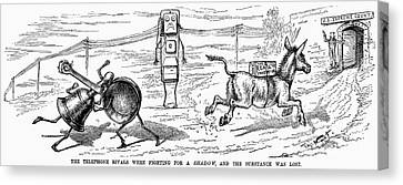 Cartoon: Telephone, 1886 Canvas Print by Granger