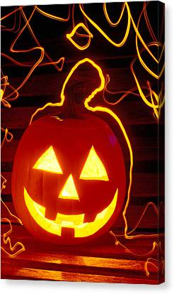 Carved Pumpkin Smiling Canvas Print by Garry Gay