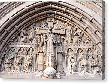 Carved Stone Biblical Mural Above Catholic Cathedral Doorway  Canvas Print by Gary Whitton