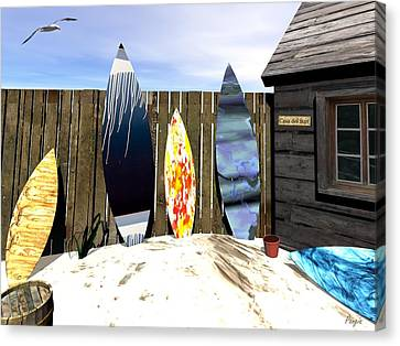Canvas Print featuring the digital art Casa Del Surf by John Pangia