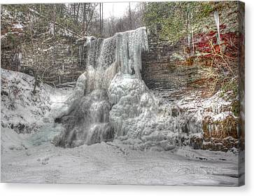 Cascades In Winter 1 Canvas Print by Dan Stone