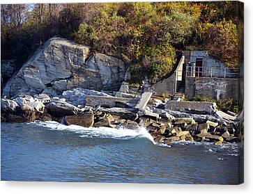 Canvas Print featuring the photograph Casco Bay Fort Area Scene by Maureen E Ritter