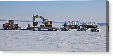 Case Tractor And Catterpillar In The Arctic Canvas Print by Sam Amato