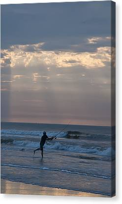 Casting Into The Surf Canvas Print by Bill Cannon