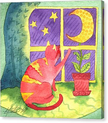 Cat And Moon Canvas Print by Kristen Fox