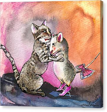 Cat And Mouse Reunited Canvas Print by Miki De Goodaboom
