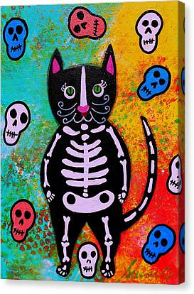 Cat Dia De Los Muertos Canvas Print