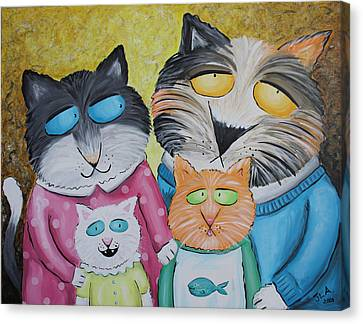 Cat Family Portrait Canvas Print by Jennifer Alvarez
