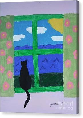 Cat In Window Canvas Print by Jeannie Atwater Jordan Allen
