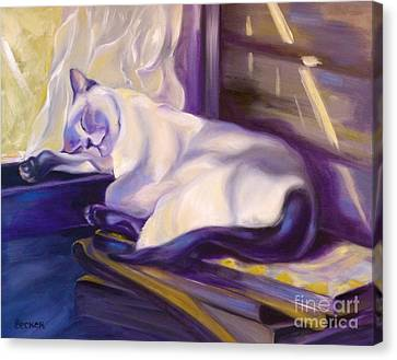 Cat Nap In The Office Canvas Print by Susan A Becker