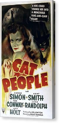 Cat People, Simone Simon, 1942, Cat Canvas Print