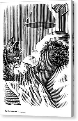Cat Watching Sleeping Man, Artwork Canvas Print by Bill Sanderson
