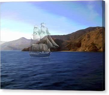 Catalina Shoreline Ghost Ship Canvas Print by Snake Jagger