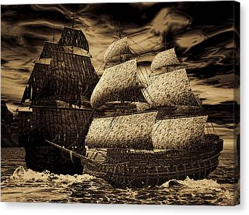 Catastrophic Collision-sepia Canvas Print by Lourry Legarde