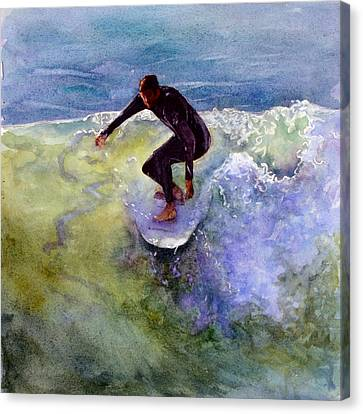 Canvas Print featuring the painting Catch A Wave by Bonnie Rinier