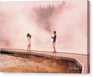 Catching The Steam In Yellowstone Canvas Print