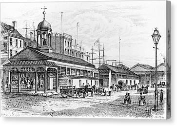 Conestoga Canvas Print - Catharine Market, 1850 by Granger
