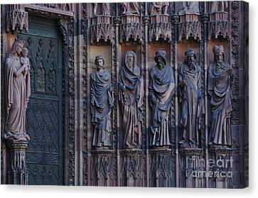 Cathedral In Strasbourg Details Canvas Print by Bob Christopher