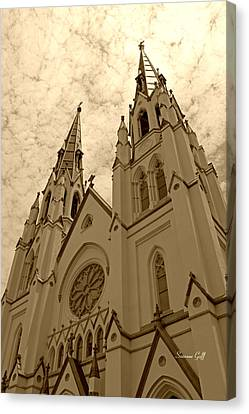 Cathedral Of St John The Baptist In Sepia Canvas Print by Suzanne Gaff