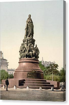 Catherine II Monument In St. Petersburg Russia Canvas Print by International  Images