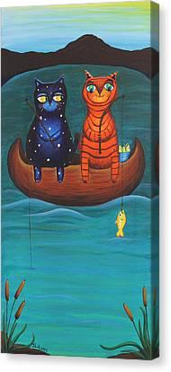 Cats Fish Canvas Print by Jennifer Alvarez
