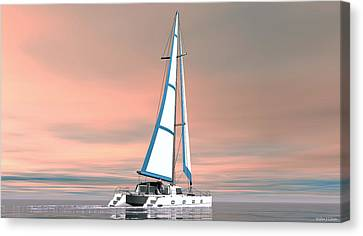 Catsailing Sunset Canvas Print by Walter Colvin