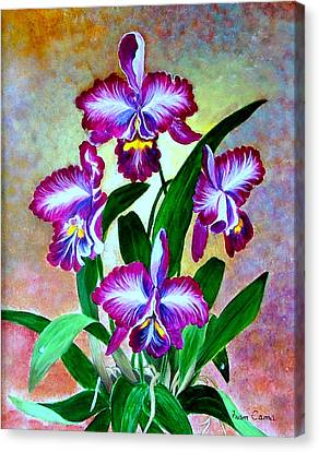 Canvas Print featuring the painting Cattleya Orchid by Fram Cama