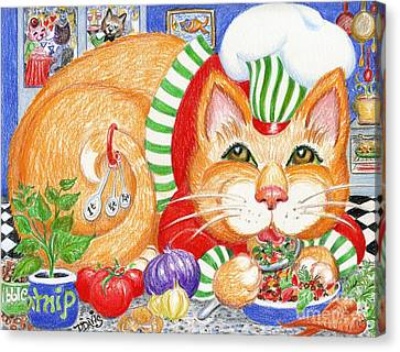 Canvas Print featuring the drawing Catzi Cacciatore by Dee Davis