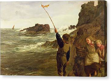 Caught By The Tide Canvas Print by James Clarke Hook