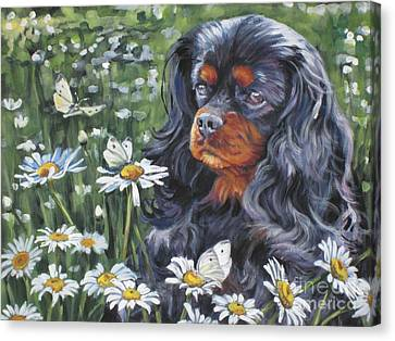 Cavalier King Charles In The Wildflowers Canvas Print