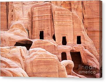 Cave Dwellings Petra. Canvas Print