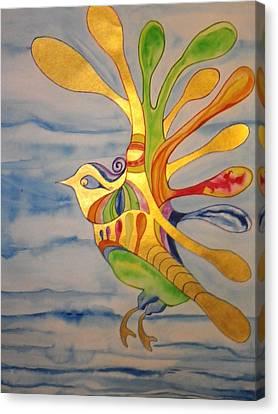 Cecilia The Psychedelic Seabird Canvas Print by Erika Swartzkopf