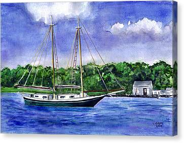 Canvas Print featuring the painting Cedar Beach Schooner by Clara Sue Beym