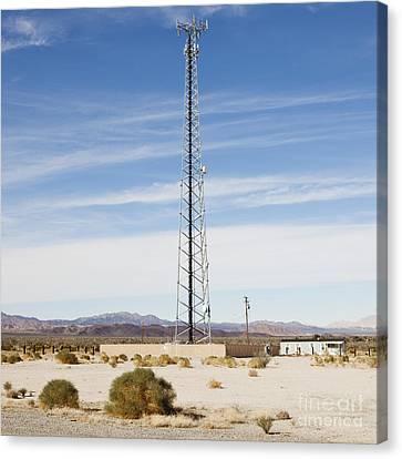 Cellular Phone Tower In Desert Canvas Print by Paul Edmondson