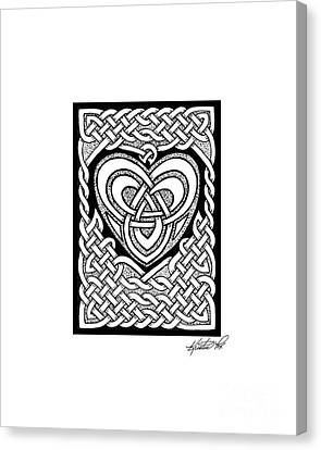 Celtic Knotwork Heart Canvas Print by Kristen Fox
