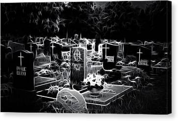 Cemetary At Night Canvas Print by Ellen Heaverlo