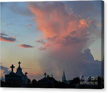 Canvas Print featuring the photograph Cemetery Skies by Jeanne  Woods