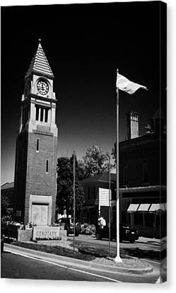 Cenotaph Clock Tower And Flagpole Niagara-on-the-lake Ontario Canada Canvas Print