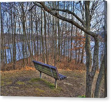 Centennial Lake Bench Canvas Print by Stephen Younts