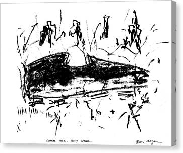 Canvas Print featuring the drawing Central Park Early Spring by Patrick Morgan