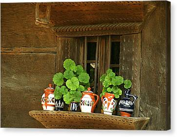Ceramic Jugs And Geraniums At The Window Canvas Print by Emanuel Tanjala