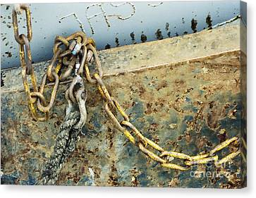 Canvas Print featuring the photograph Chain Over Ship's Side by Agnieszka Kubica