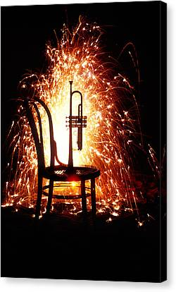 Chair And Horn With Fireworks Canvas Print by Garry Gay